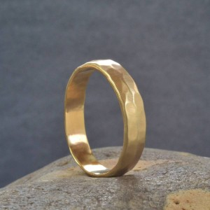 Personalised Handmade Hammered Wedding Ring - Custom Made By Yaffie™