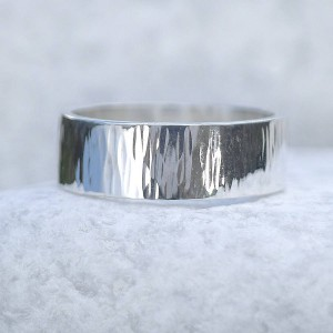 Personalised Hammered Ring With Tree Bark Finish - Custom Made By Yaffie™