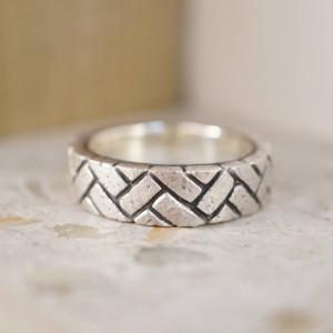 Personalised Herringbone Brick Ring - Custom Made By Yaffie™