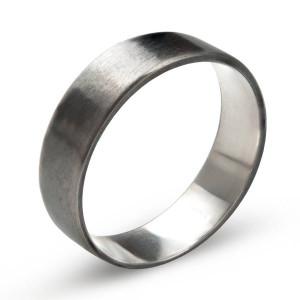 Personalised Oxidized Flat Wedding Band Ring - Custom Made By Yaffie™