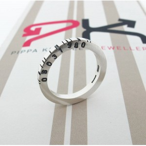 Personalised Thin Square Barcode Ring - Custom Made By Yaffie™
